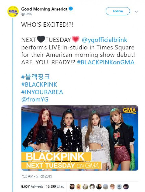 Blackpink dijadwalkan hadir di The Late Late Show with Stephen Colbert (dok. Twitter)